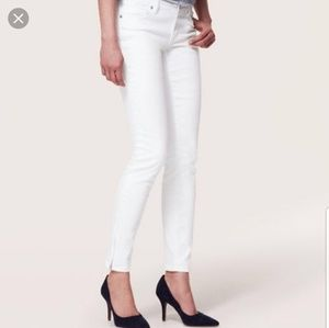 LOFT white skinny ankle jeans